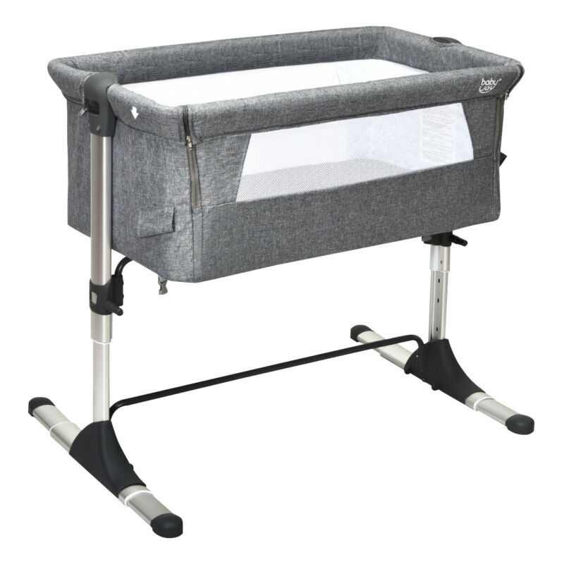 Portable Baby Bed Side Sleeper Infant Travel Bassinet Crib W/ Bag Home Grey