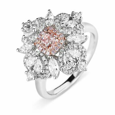 Natural Light Pink Diamond Solitaire Ring 1.58 Ct Radiant Cut 18K White Gold GIA 1