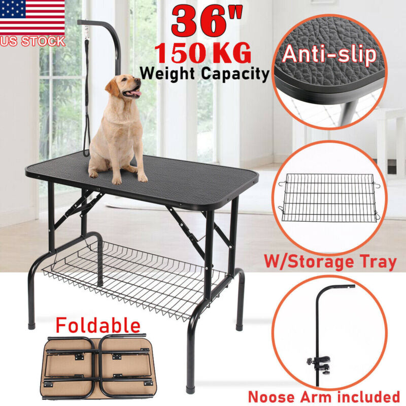 """36"""" Large Portable Foldable Dog Pet Grooming Table Adjustable Arm Noose Tray US"""