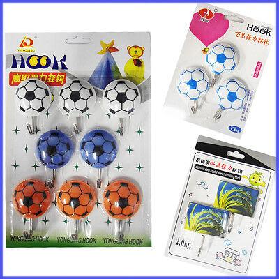 Hooks Self Adhesive Wall Hanger Hook Football Sticky Kitchen Tea Towel Kids Door