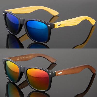 Mirror Sunglasses - BAMBOO SUNGLASSES Wooden Mens Womens Retro Vintage Wood Mirror Polarized Glasses