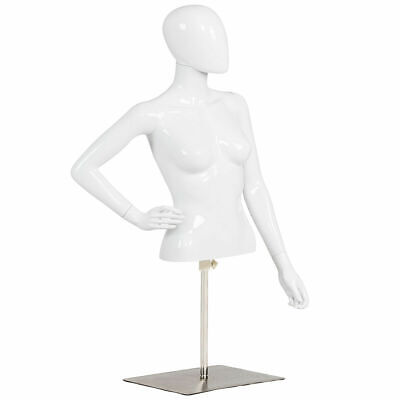 Female Mannequin Realistic Man Half Body Head Turn Dress Form Display W Base