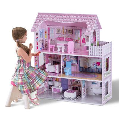 Puppenhaus Puppenstube Puppenvilla Barbiehaus Spielzeughaus Holz mit Möbeln