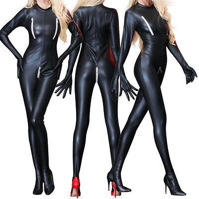 Damen Bodysuit Frauen Catsuit Hosenanzug Overalls Kunstleder Wetlook - Catwoman Kostüm Frauen