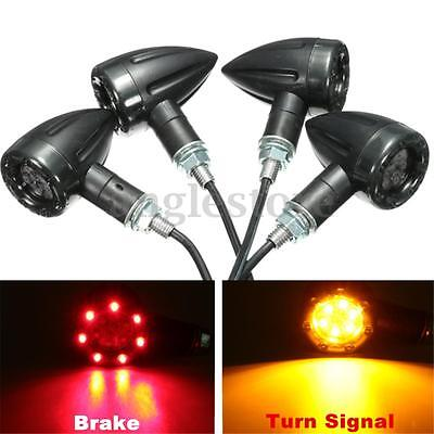 4X Motorcycle BIke LED Rear Turn Signal Brake Indicator light Running Lamp US