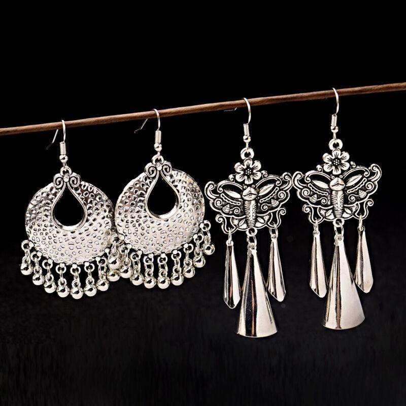 Women Bohemian Tibetan Carved Elegant Silver Butterfly Dangle Drop Bead Earrings