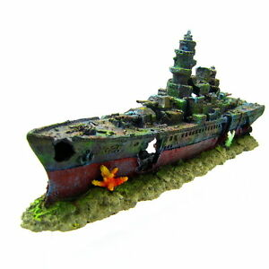 49cm warship cave aquarium ornament battleship ship for Aquarium decoration ship