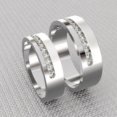 Best Gift For Couple 2.34 Ct Round Diamond His & Her Anniversary Ring Band Set (Best Gift For Engagement Anniversary)