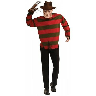 Freddy Krueger Costume Adult Mens Halloween Mask & Shirt in Standard & Plus Size