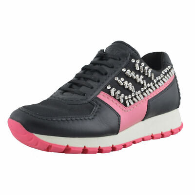 Prada Leather Beads Decorated Fashion Sneakers Shoes Sz 5 5.5 6.5 7 - Beads Sneakers Shoes