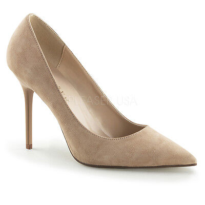 PLEASER Sexy Shoes Pointed Toe Tan Cream Suede 4