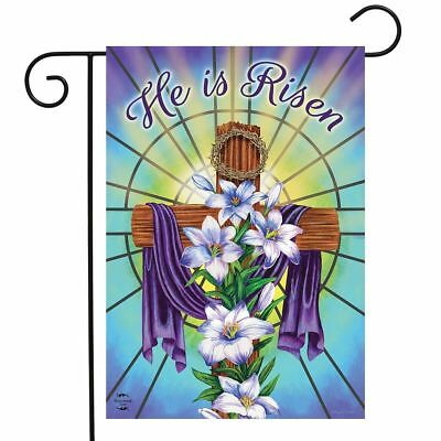 FM50 EASTER CROSS HE IS RISEN RELIGIOUS GARDEN FLAG 12X18  BANNER - Easter Flag