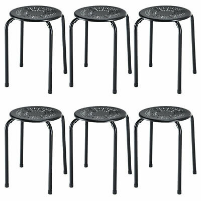 Set of 6 Stackable Metal Stool Set Daisy Backless Round Top Kitchen Black New Black Round Top Stool
