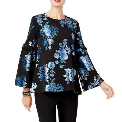 ALFANI NEW Women's Floral Print Bell Sleeves Blouse Shirt Top TEDO (Top Floral Print Blouse)