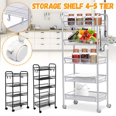 Us 45 Tier Adjustable Steel Shelf Heavy Duty Wire Shelving Rack Storage Wheel