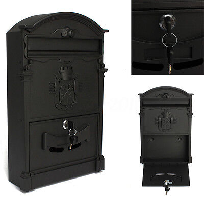 Black Mail Box Heavy Duty Letter Mailbox Postal Box Security Cast Wall Mount Us