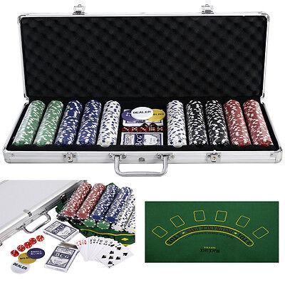 Poker Set - 500 Piece Texas Hold Em Chips Cards Dice Decks Casino Case Game Mat