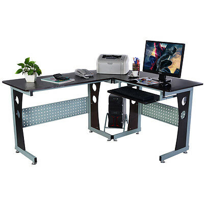 COSTWAY Wood L-Shape Corner Computer Desk PC Table Workstation Home Office