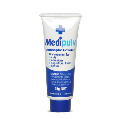 Pulver Erste Hilfe (Medi Pulv Antiseptic Powder 25g Relief Itching, Burns, Scalds)