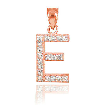 "10k Rose Gold Letter ""E"" Initial Pendant Necklace with Diamonds 0.19ctw"