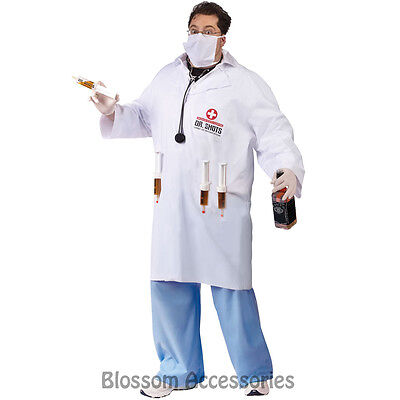 Funny Dr. Halloween Costumes (CL140 Dr.Shots Mens Funny Doctor Medical White Lab Coat Halloween Adult)