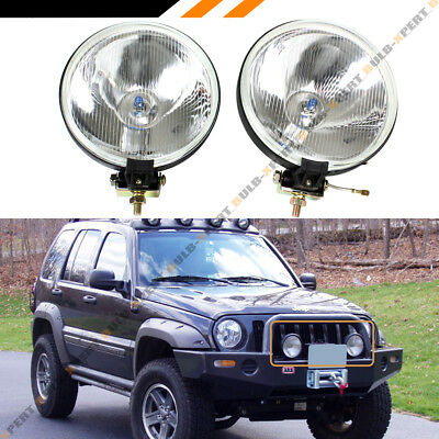 7'' ROUND CLEAR LENS CHROME OFFROAD BULL GUARD FOG LIGHT W/ SWITCH+WIRING+BULBS