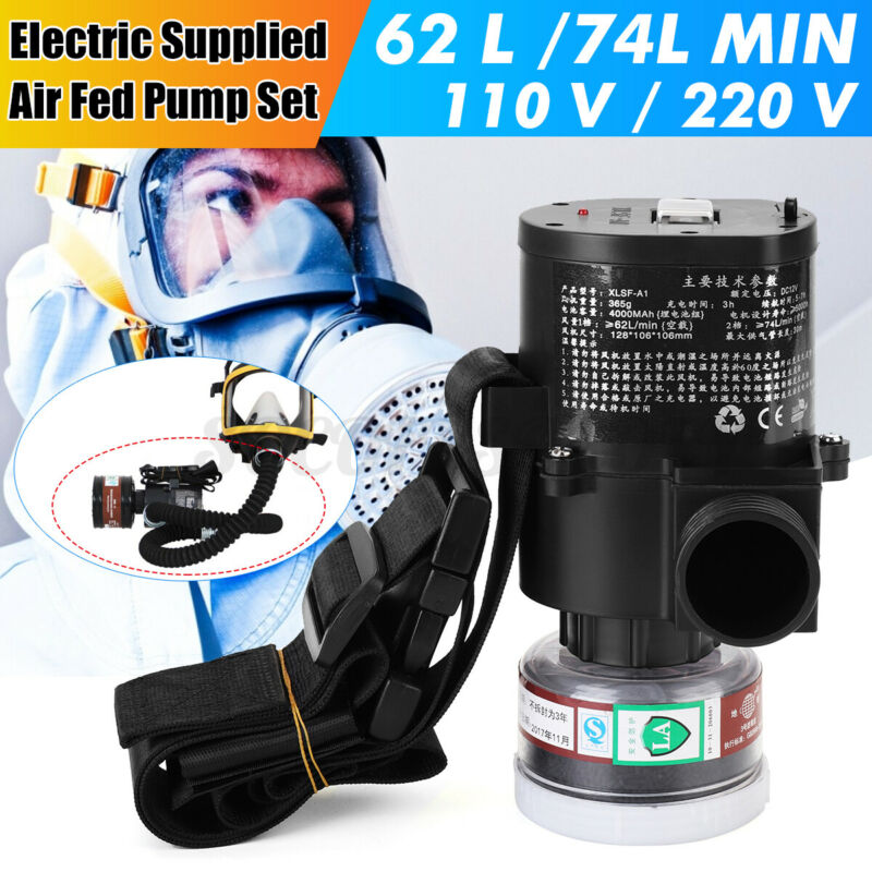 5000 Electric Constant Flow Supplied Air Pump Fed Respirator System Full Face US