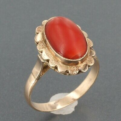 Antique Victorian Solid 14K Gold Oval Coral Cabochon Ring 3.6 Grams Sz 6.5 14k Gold Oval Coral