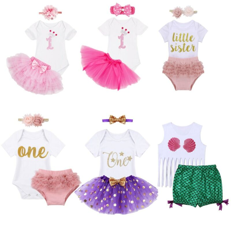 3PCS Toddler Baby Girls Outfit One Mermaid Romper Top+Tutu Skirt Headband Clothes Set