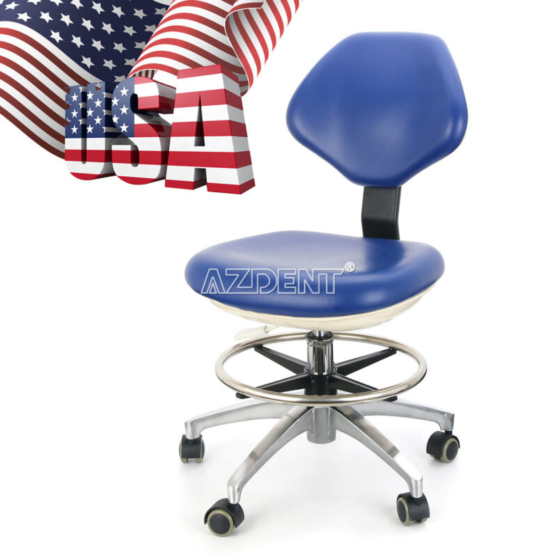 Dental Dentist Doctor Assistant Stool Adjustable Height Mobile Chair Blue