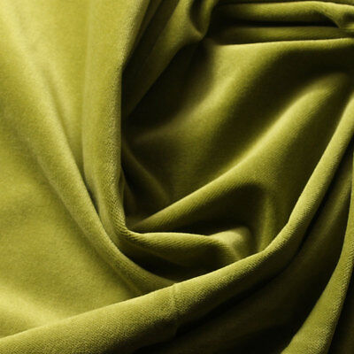 100% COTTON VELVET Upholstery Drapery Fabric 58''-60'' 320gsm GREEN OLIVE DRAB - Olive Upholstery Collection