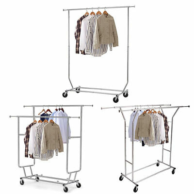 Heavy Duty Single/Double Rail Wheel Adjustable Garment Rack Shelf Clothes Hanger