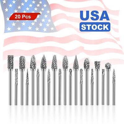20pcs Head Tungsten Carbide Steel Rotary Burr Die Grinder Bit Shank Carveing Set