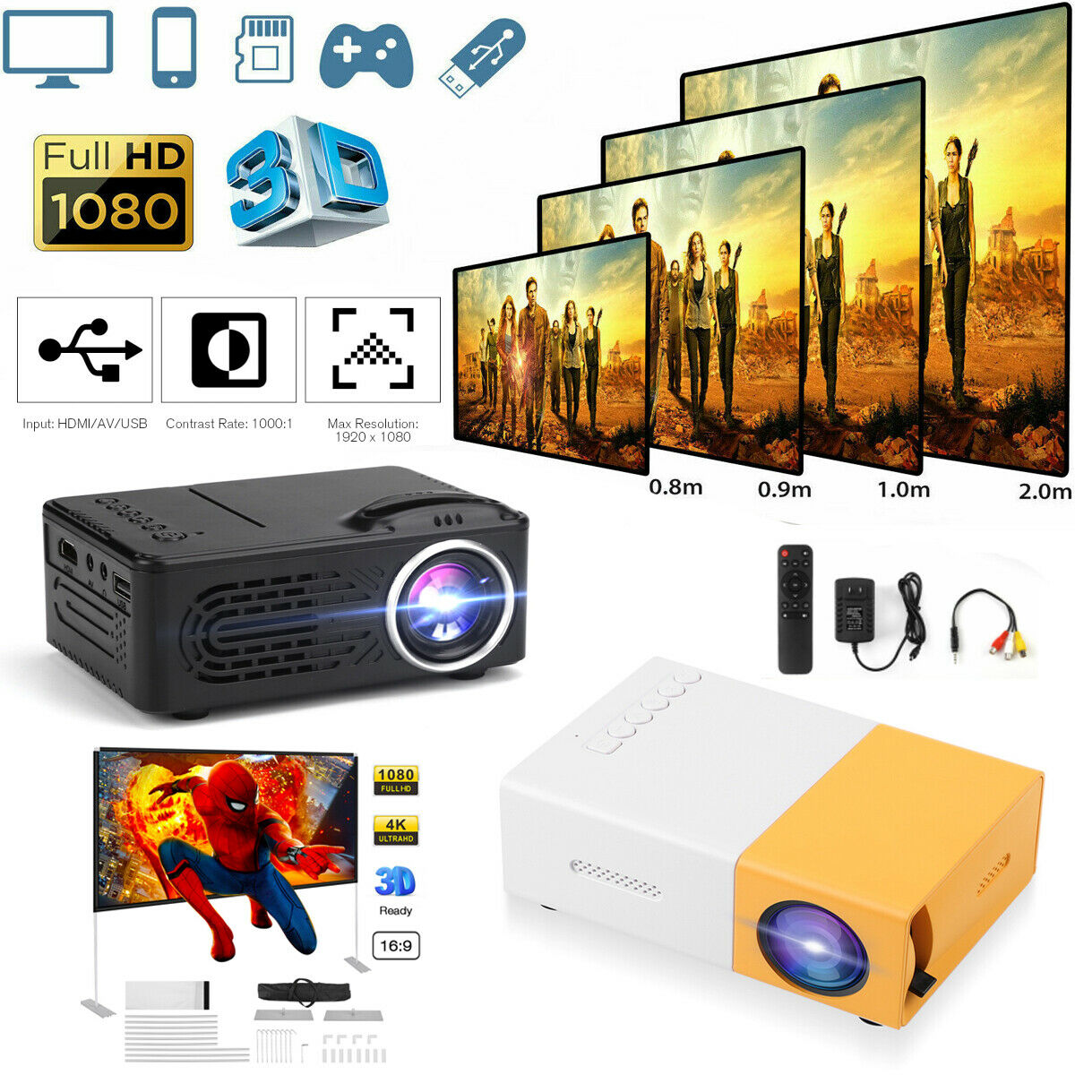 1080p Full HD Portable LED Mini Projector Home Theater Cinem
