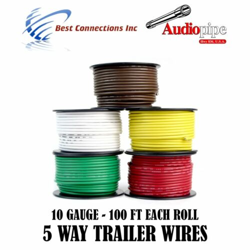 5 Way Trailer Wire Light Cable for Harness LED 100ft  Each Roll 10 Gauge 5 Rolls