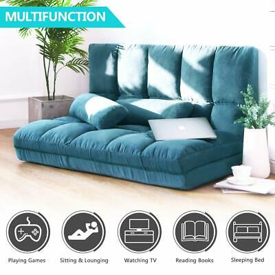 Double Chaise Lounge Sofa Chair Floor Couch Adjustable Gaming Sofa w/Two -