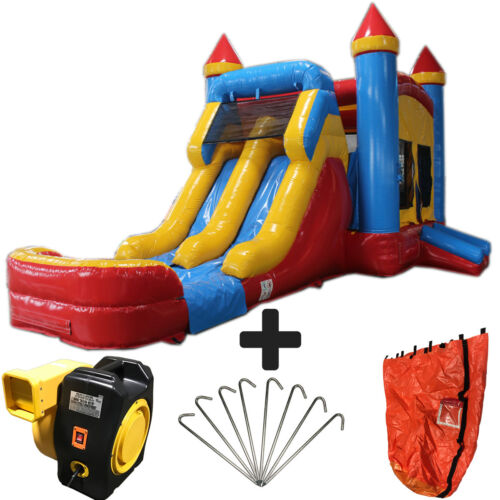 28ft Red,yellow,blue Wet/dry Commercial Inflatable Bounce House Water Slide Cmbo