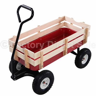 Outdoor Wagon Pulling Children Kid Garden Cart  w/ Wood Rail