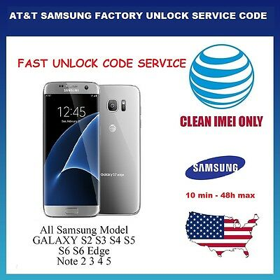 FACTORY UNLOCK CODE SERVICE AT&T ATT for SAMSUNG GALAXY S8 S7 S6 S5 S4 S3 NOTEs