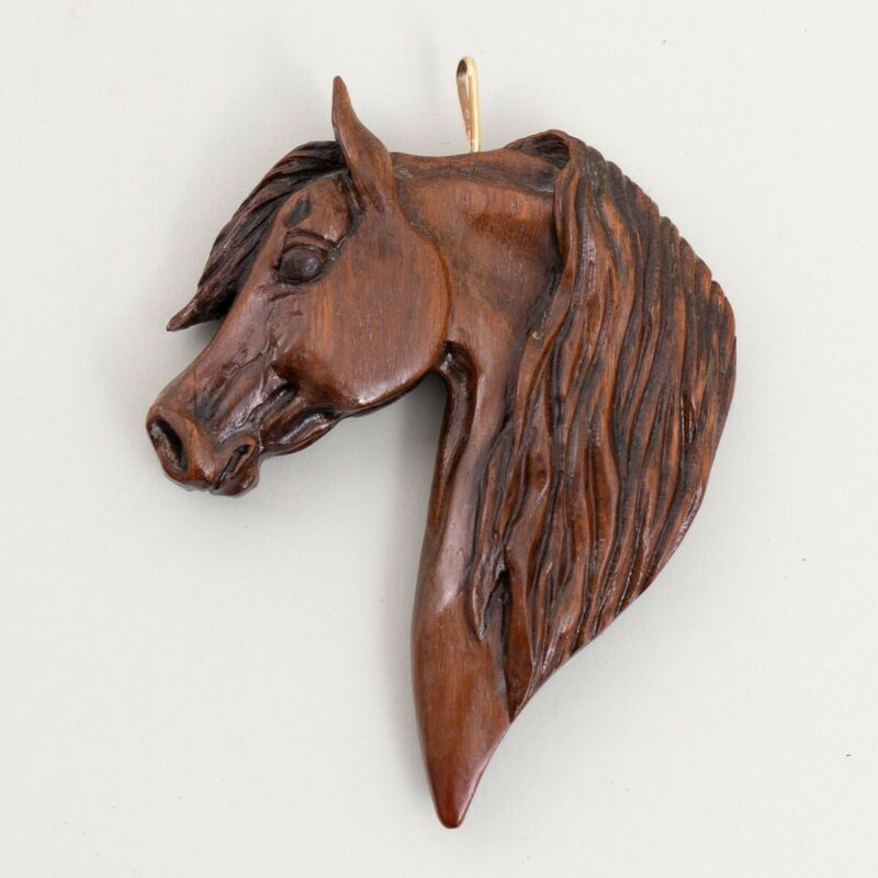 Hand Carved Wood Horse Head Equestrian Ornament Signed