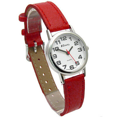 Ravel Ladies Super-Clear Easy Read Quartz Watch Red Strap R0105.10.2A