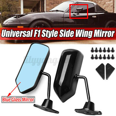 2Pcs F1 Style Universal Racing Side Rearview Wing Mirrors For