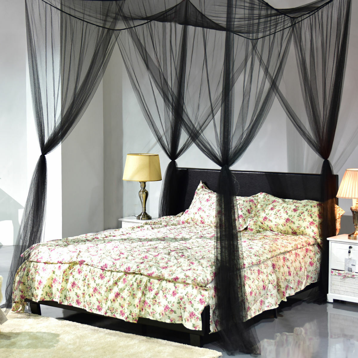 New 4 Corner Mosquito Net Post Bed Canopy Curtain for Large