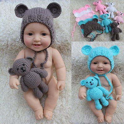 Newborn Baby Crochet Bonnet Hat Teddy Bear Toy Set Photography Prop Outfits 0-6M - Infant Newborn Teddy Bears