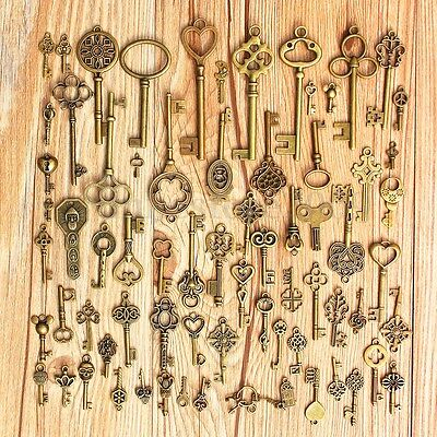 70Pcs Vintage Antique Old Look Bronze Skeleton Key Fancy Heart Bow Pendant Decor
