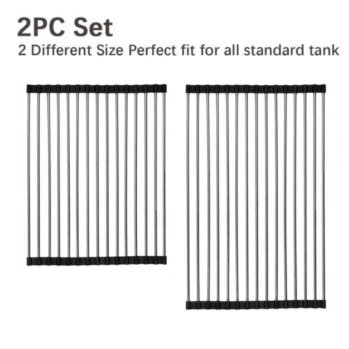 2 Pack Over the Sink Roll Up Drying Rack Pan Stainless Steel