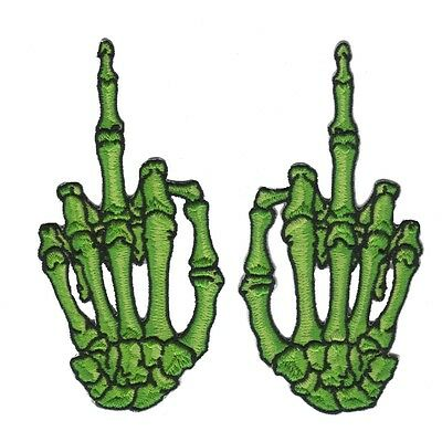Wholesale Skeletons (Green Middle Finger Skeleton Hand Patch Kreepsville Embroidered Iron On)