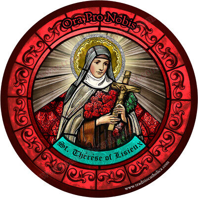 Saint St Therese of Lisieux, Little Flower Stained Glass round 4 inch magnet Therese Lisieux Little Flower