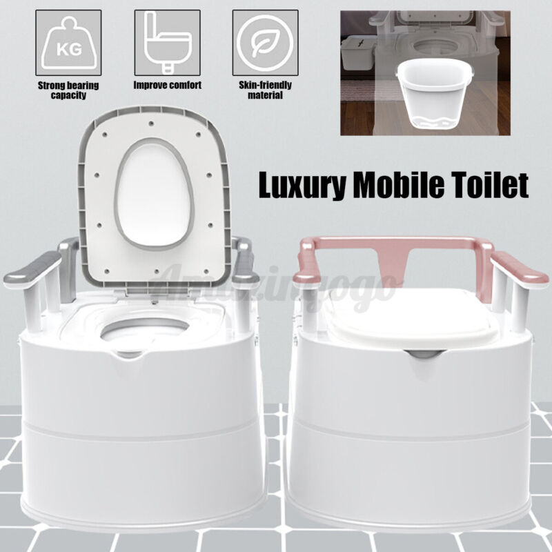 Portable Toilet Seat Flush porta potty Outdoor Indoor Travel Camping Commode @