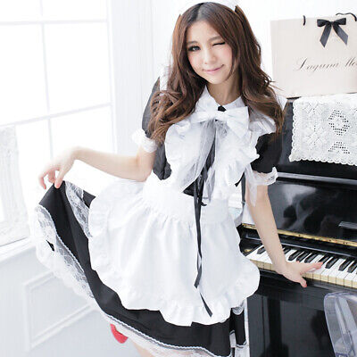 Women Maid Uniform Dress Set Cosplay Costume Adult Japanese Anime Lolita Outfit - Anime Outfit